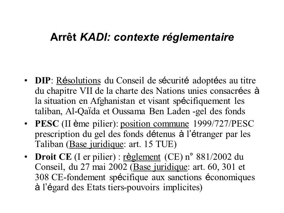 Arrêt KADI: contexte réglementaire