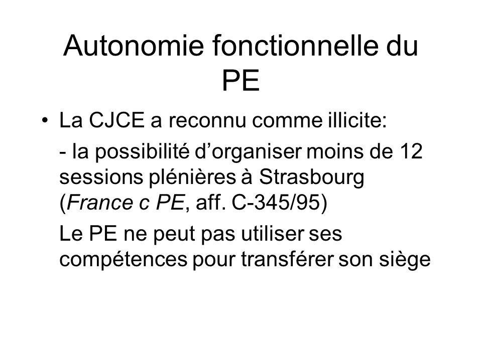 Autonomie fonctionnelle du PE