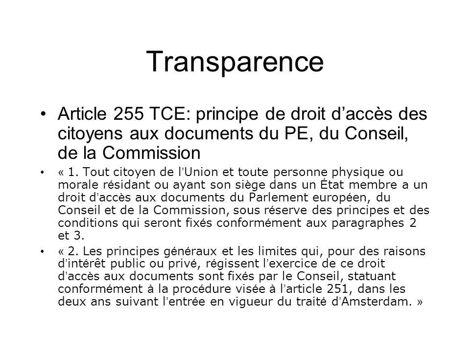 Transparence Article 255 TCE: principe de droit d'accès des citoyens aux documents du PE, du Conseil, de la Commission.