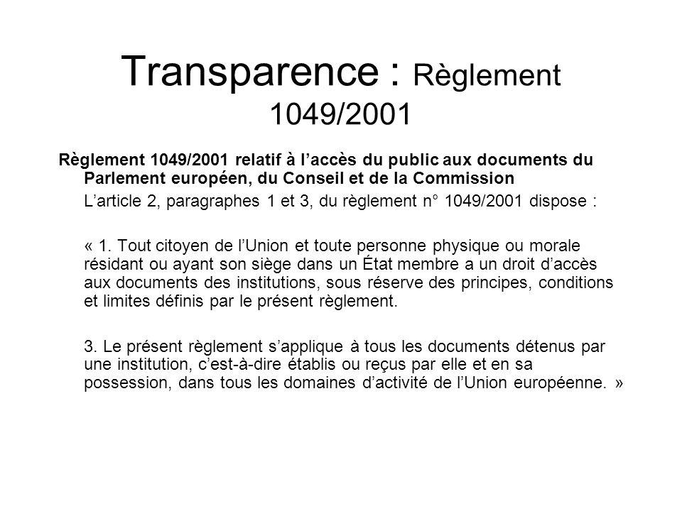 Transparence : Règlement 1049/2001