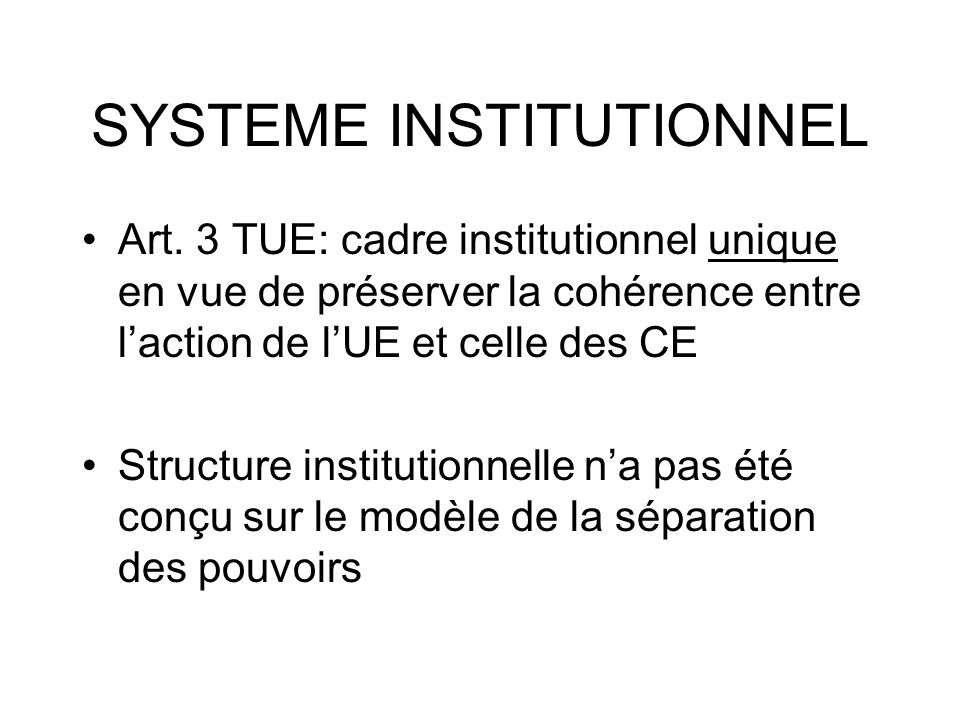 SYSTEME INSTITUTIONNEL