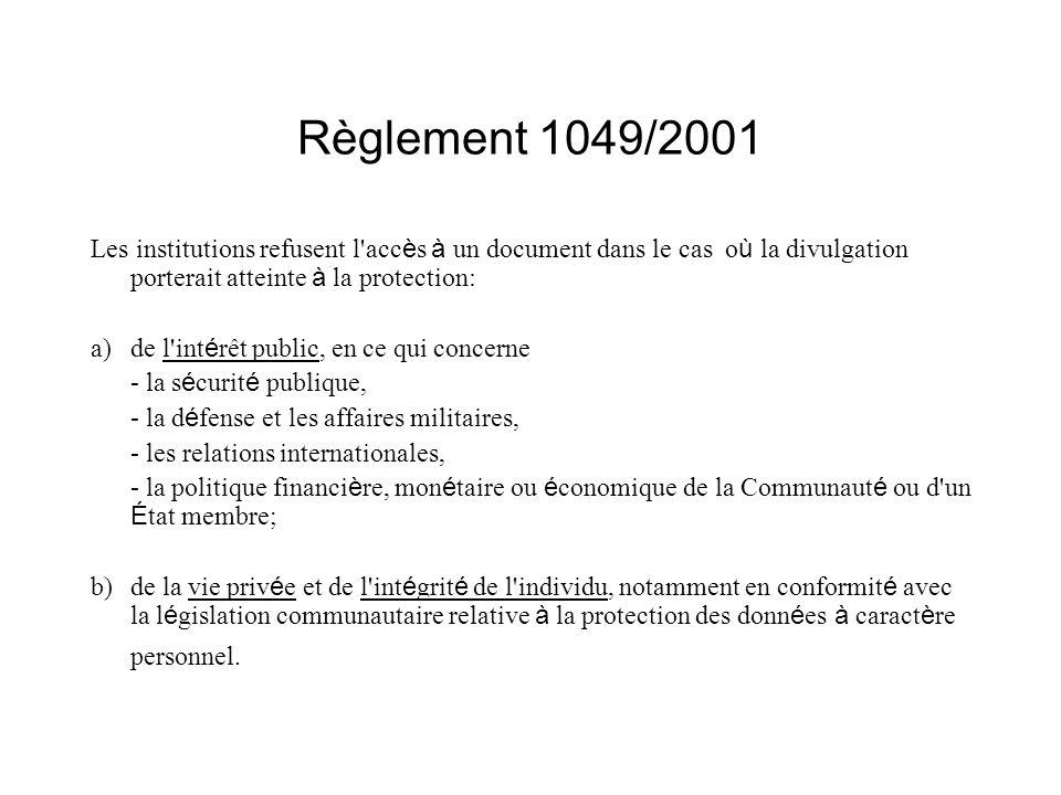 Règlement 1049/2001 Les institutions refusent l accès à un document dans le cas où la divulgation porterait atteinte à la protection: