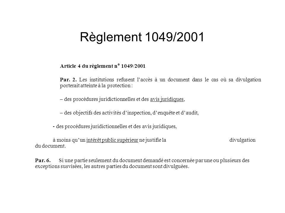 Règlement 1049/2001 Article 4 du règlement n° 1049/2001
