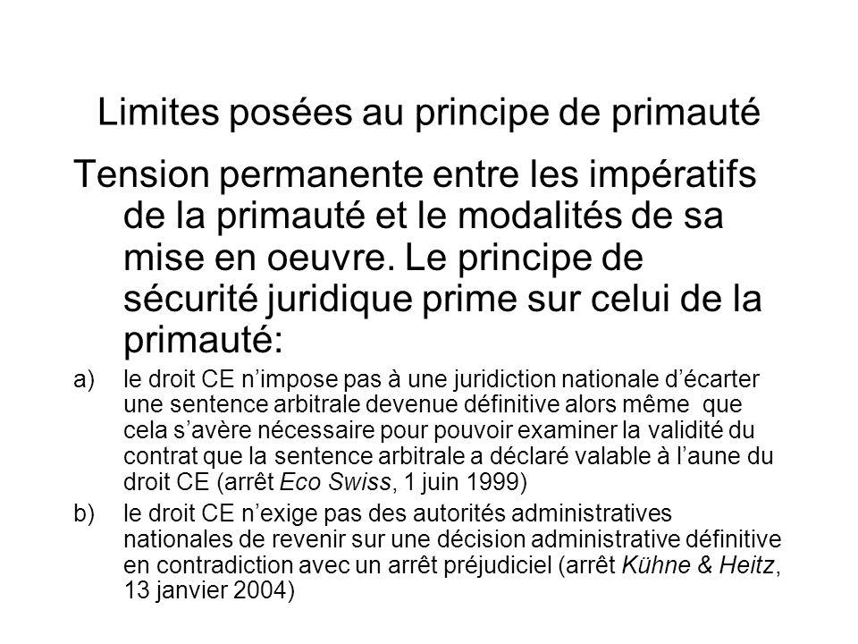Limites posées au principe de primauté