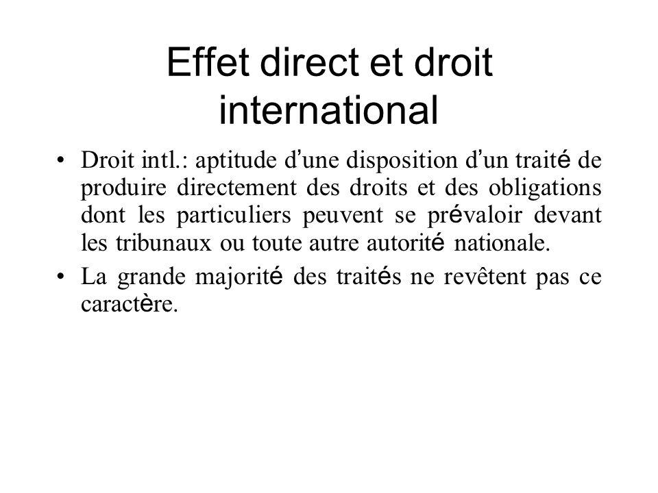 Effet direct et droit international