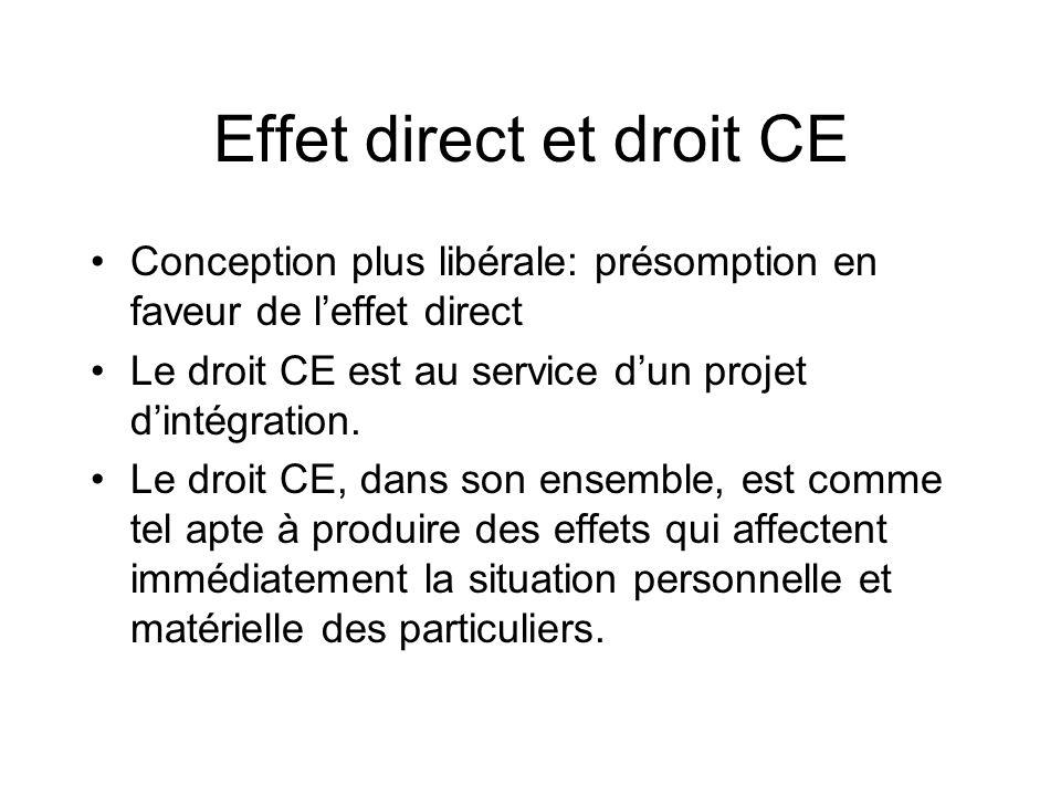 Effet direct et droit CE
