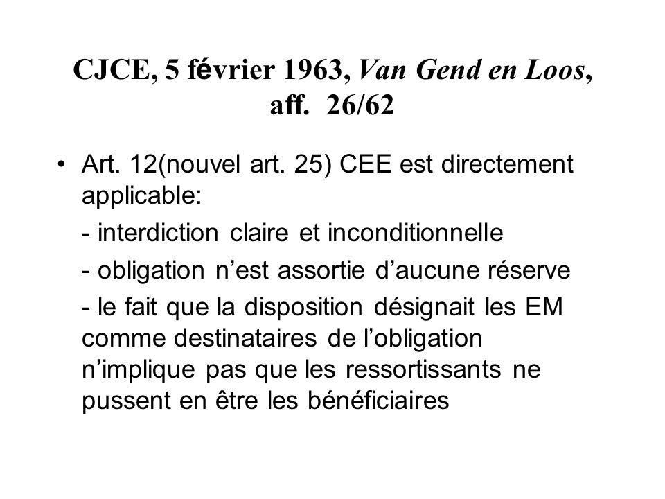 CJCE, 5 février 1963, Van Gend en Loos, aff. 26/62