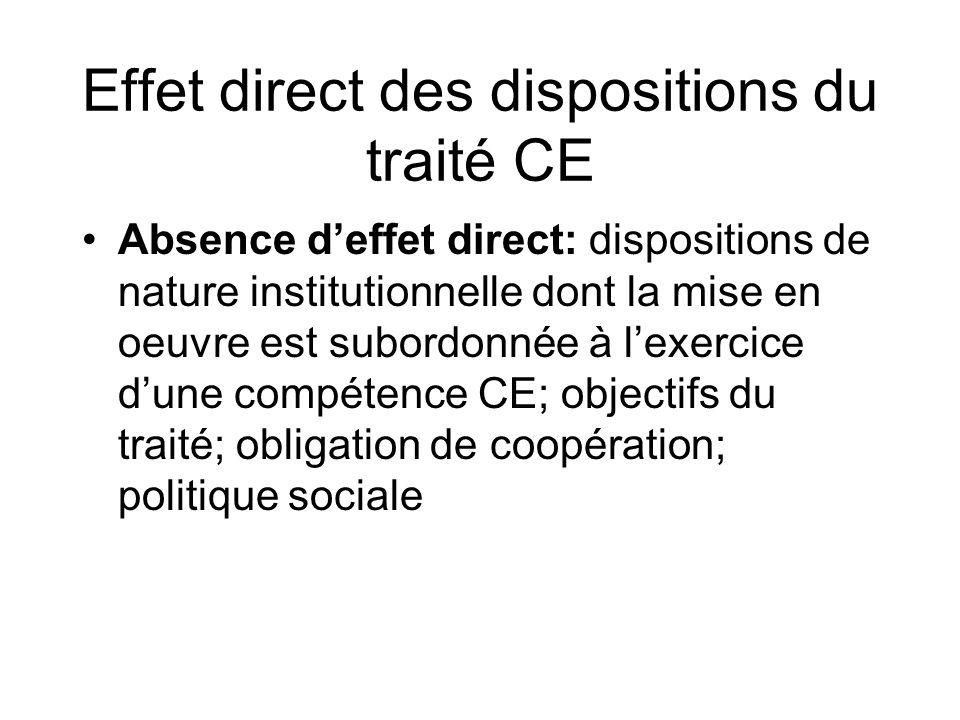 Effet direct des dispositions du traité CE