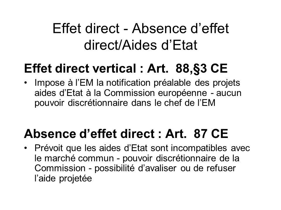 Effet direct - Absence d'effet direct/Aides d'Etat