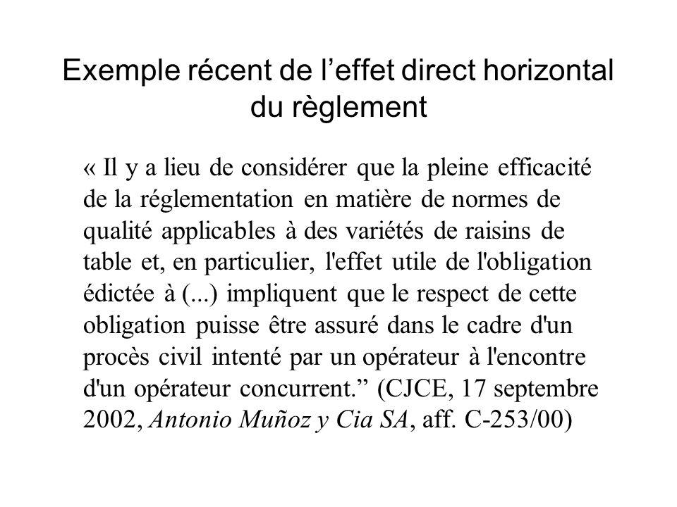 Exemple récent de l'effet direct horizontal du règlement