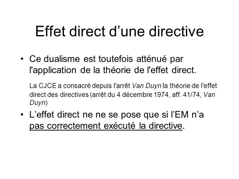 Effet direct d'une directive