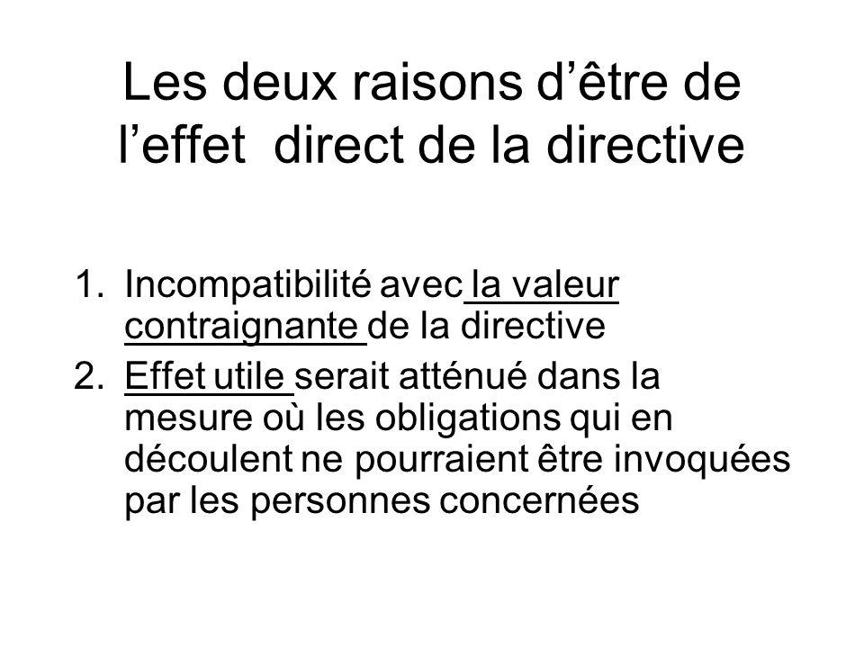 Les deux raisons d'être de l'effet direct de la directive
