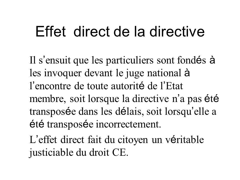 Effet direct de la directive
