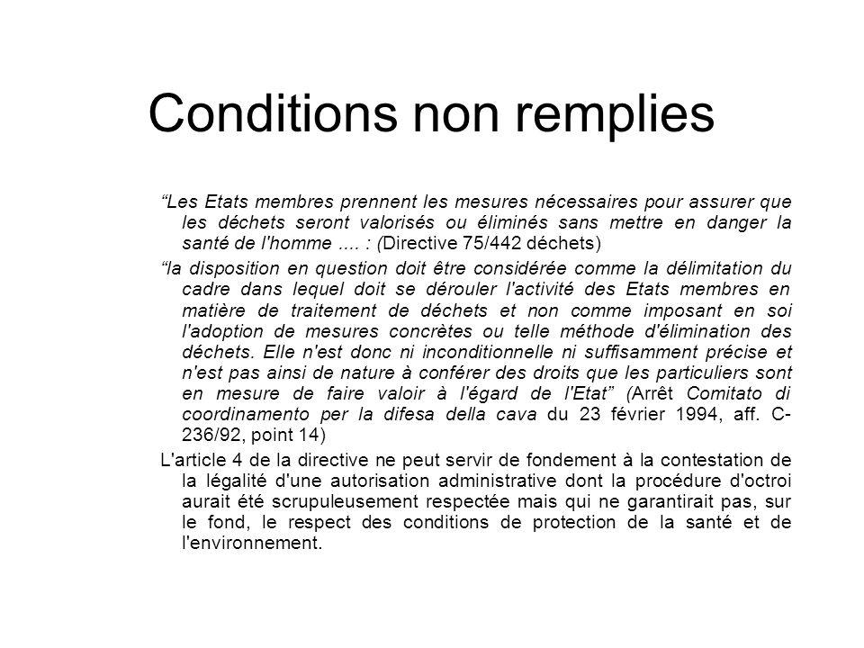 Conditions non remplies