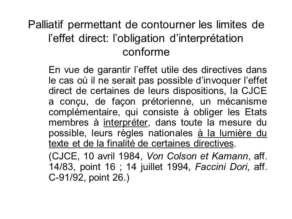Palliatif permettant de contourner les limites de l'effet direct: l'obligation d'interprétation conforme