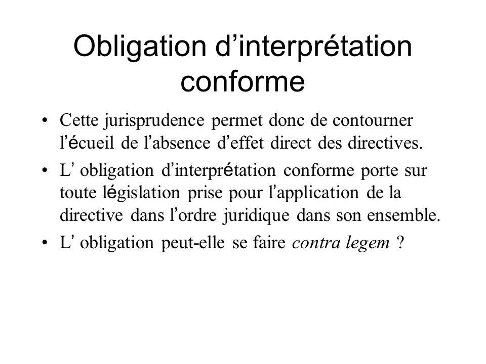 Obligation d'interprétation conforme