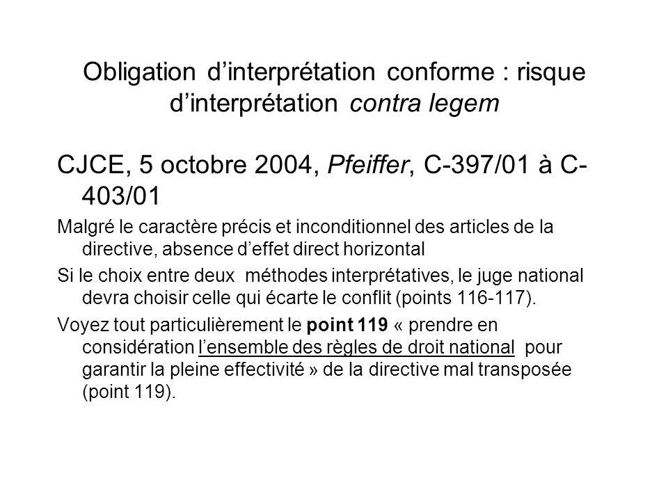 CJCE, 5 octobre 2004, Pfeiffer, C-397/01 à C-403/01
