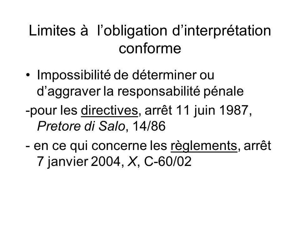 Limites à l'obligation d'interprétation conforme