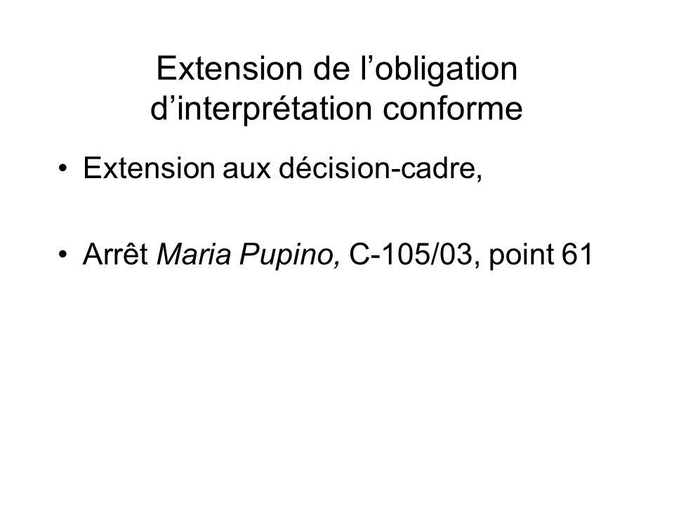 Extension de l'obligation d'interprétation conforme
