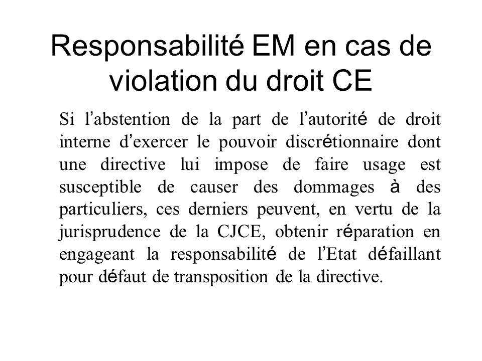 Responsabilité EM en cas de violation du droit CE