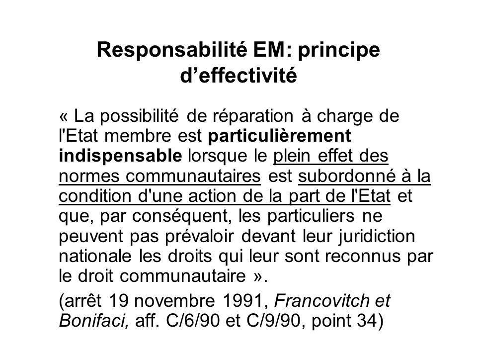Responsabilité EM: principe d'effectivité