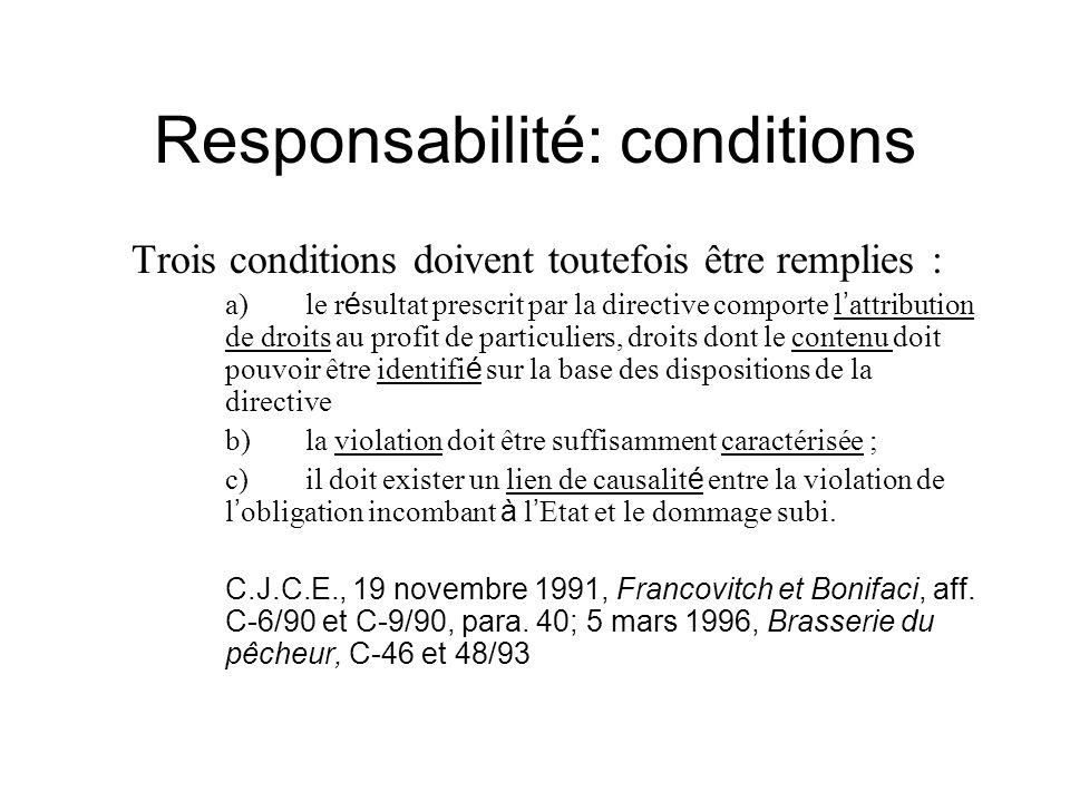Responsabilité: conditions