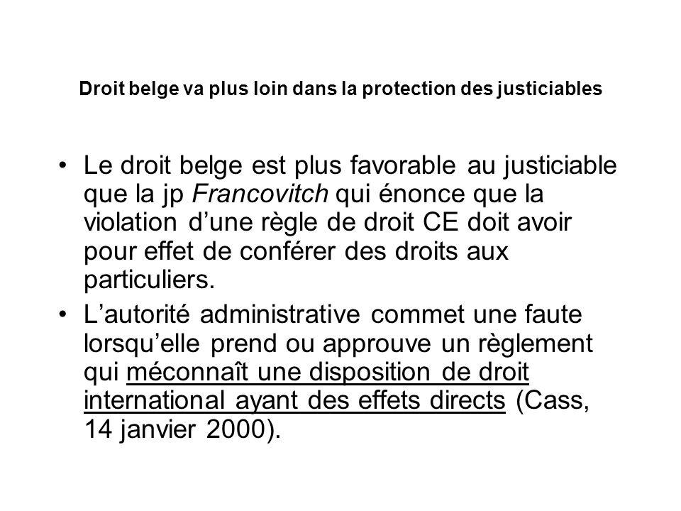 Droit belge va plus loin dans la protection des justiciables