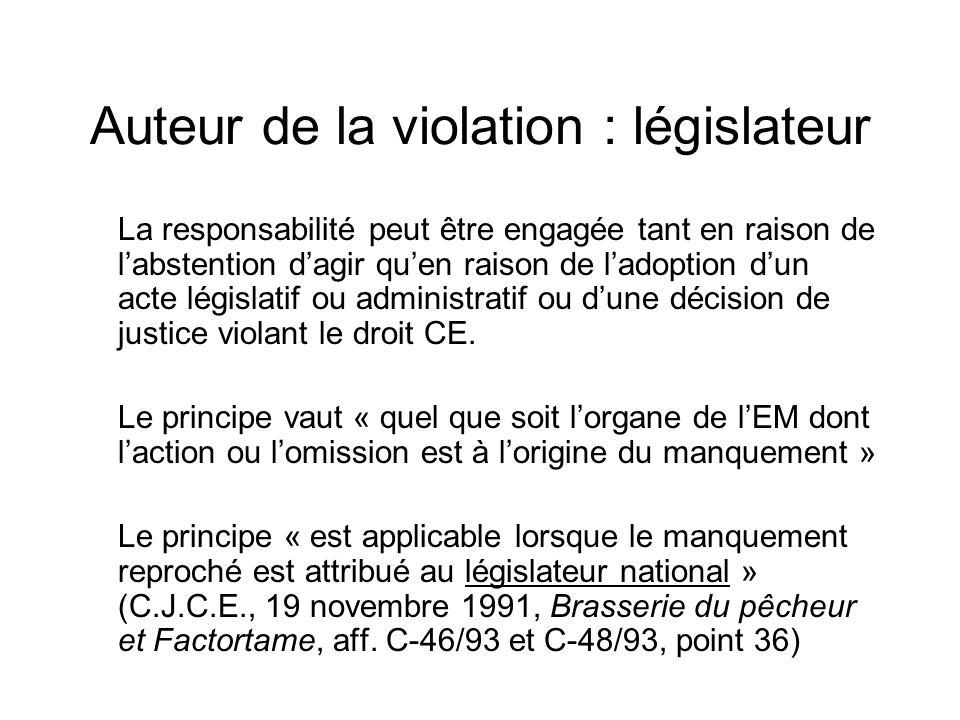 Auteur de la violation : législateur