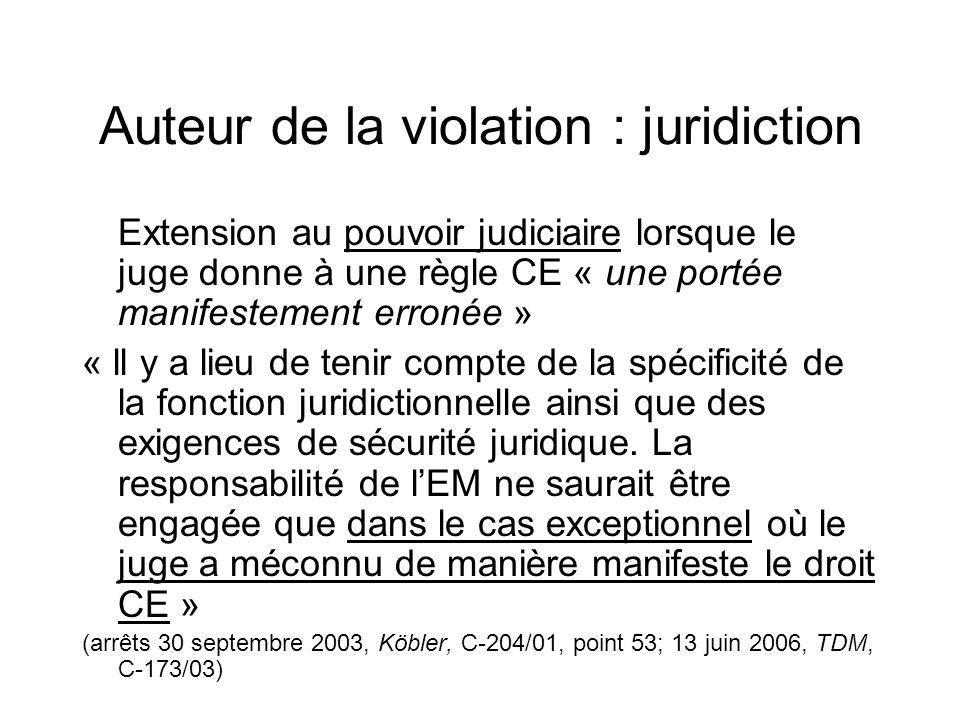 Auteur de la violation : juridiction