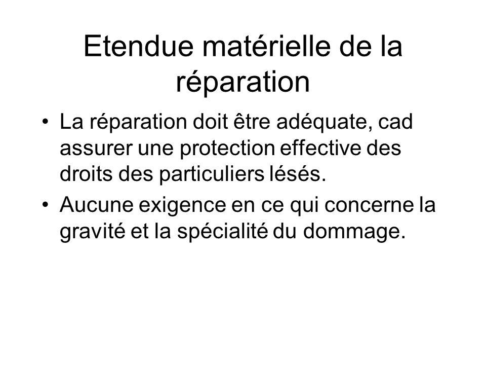 Etendue matérielle de la réparation