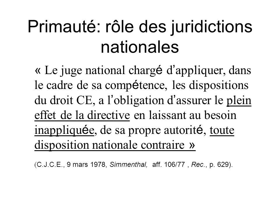 Primauté: rôle des juridictions nationales