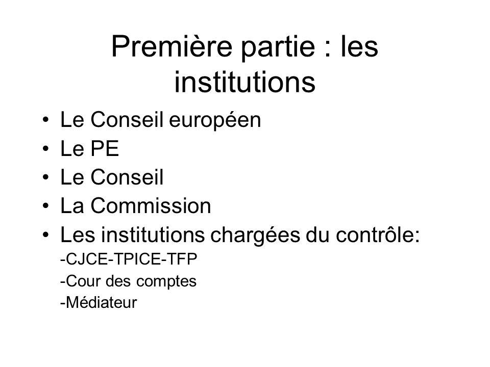 Première partie : les institutions