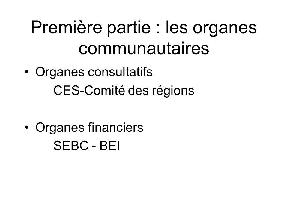 Première partie : les organes communautaires