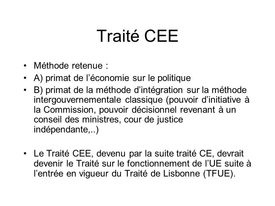 Traité CEE Méthode retenue : A) primat de l'économie sur le politique
