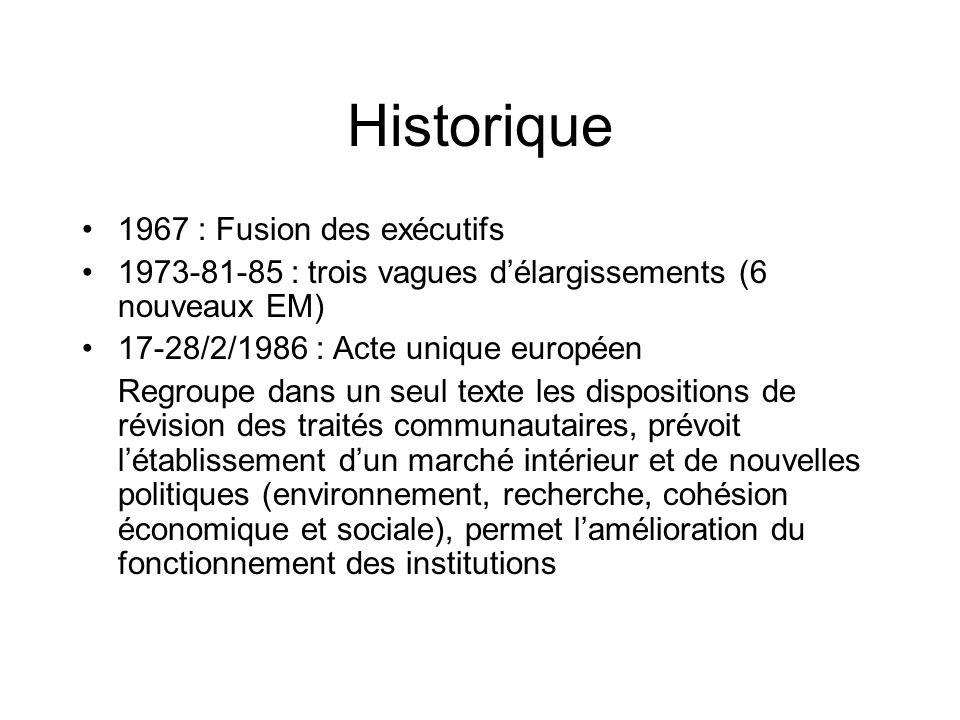 Historique 1967 : Fusion des exécutifs