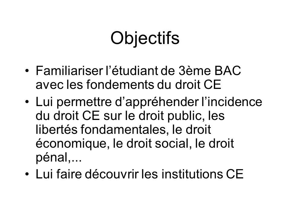 Objectifs Familiariser l'étudiant de 3ème BAC avec les fondements du droit CE.