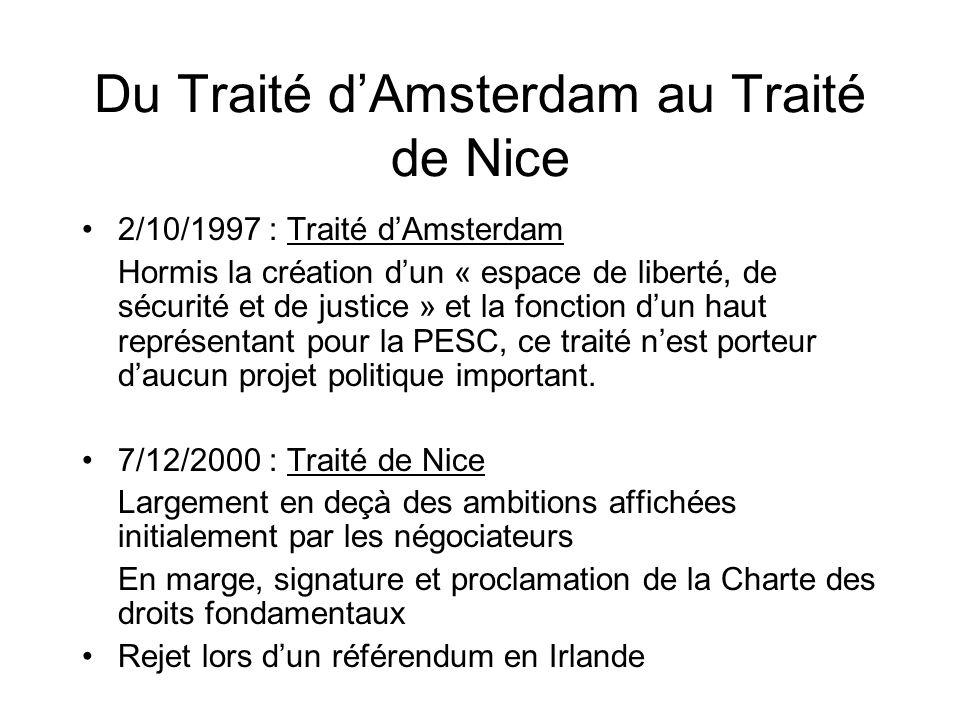 Du Traité d'Amsterdam au Traité de Nice