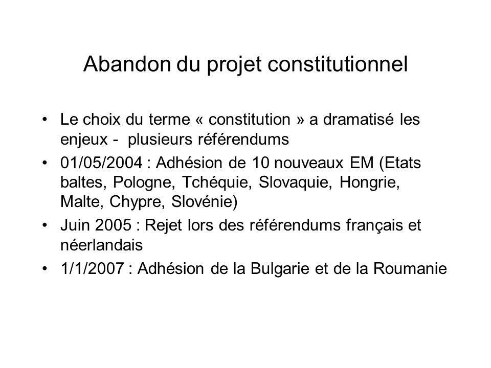 Abandon du projet constitutionnel