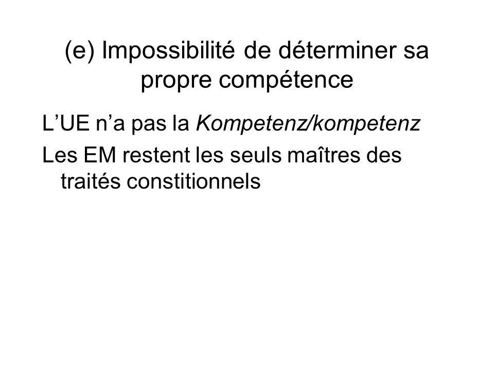 (e) Impossibilité de déterminer sa propre compétence