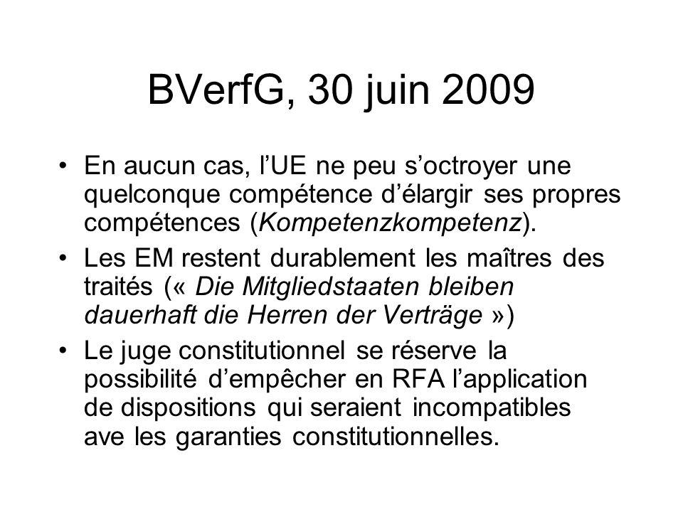 BVerfG, 30 juin 2009 En aucun cas, l'UE ne peu s'octroyer une quelconque compétence d'élargir ses propres compétences (Kompetenzkompetenz).