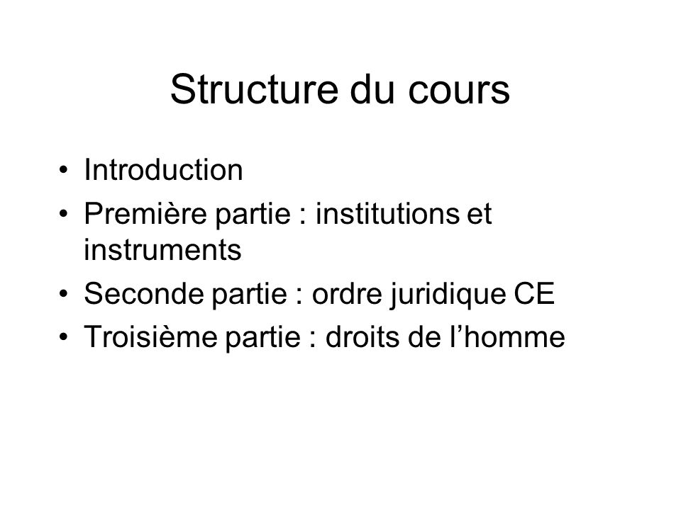 Structure du cours Introduction