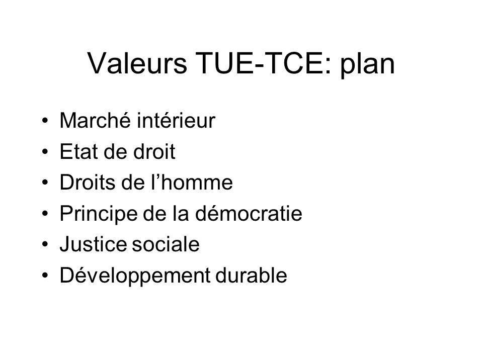Valeurs TUE-TCE: plan Marché intérieur Etat de droit Droits de l'homme
