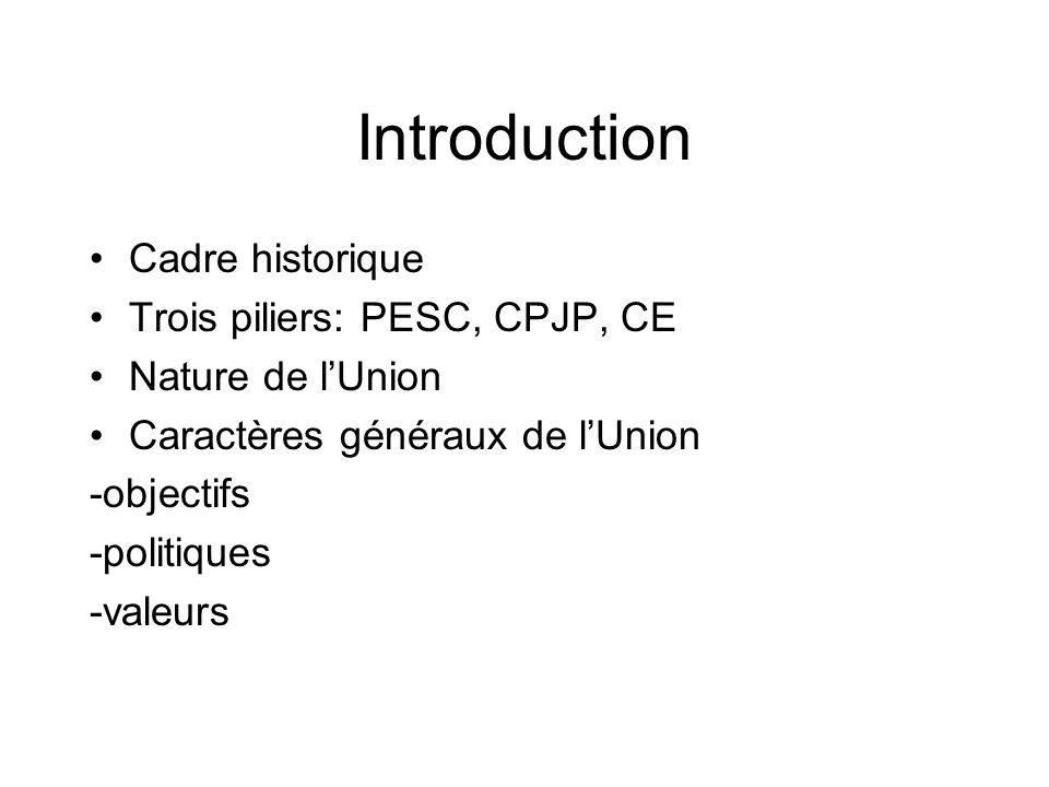 Introduction Cadre historique Trois piliers: PESC, CPJP, CE