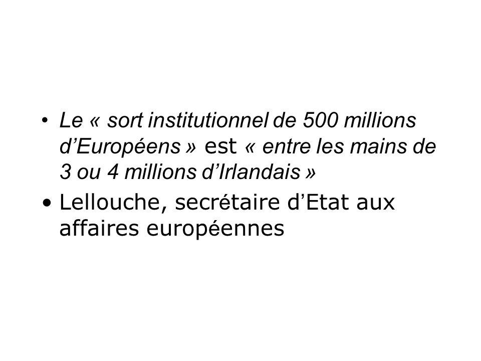 Le « sort institutionnel de 500 millions d'Européens » est « entre les mains de 3 ou 4 millions d'Irlandais »