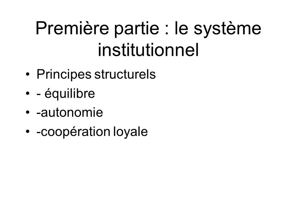 Première partie : le système institutionnel