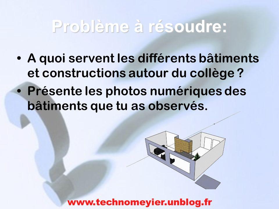 Problème à résoudre: A quoi servent les différents bâtiments et constructions autour du collège