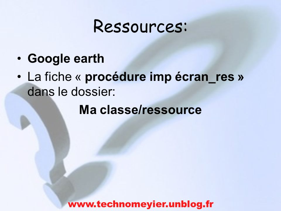 Ressources: Google earth