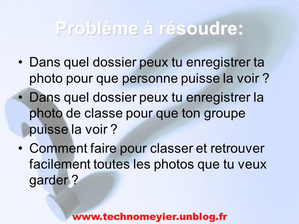 Problème à résoudre: Dans quel dossier peux tu enregistrer ta photo pour que personne puisse la voir