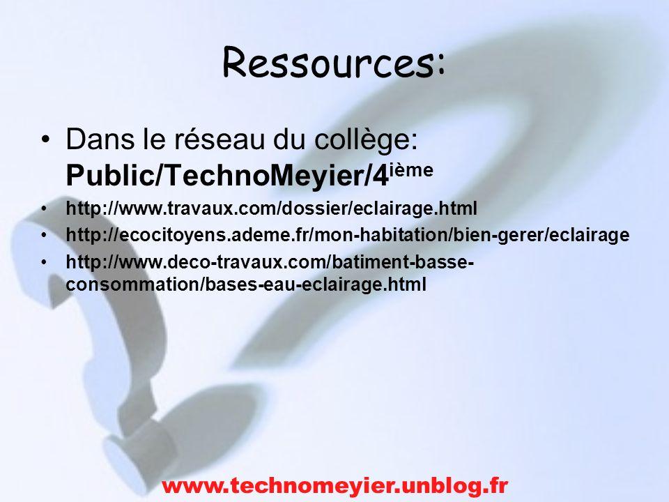 Ressources: Dans le réseau du collège: Public/TechnoMeyier/4ième