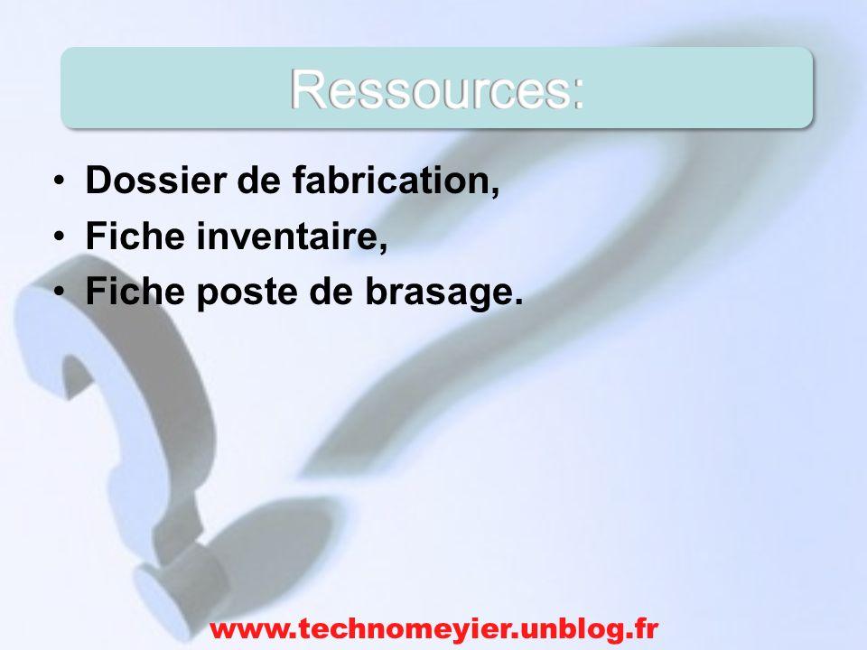 Ressources: Dossier de fabrication, Fiche inventaire,
